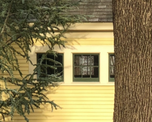 Yellow house with green window grids