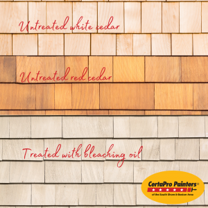 Infographic showing untreated white shingles on top, untreated red shingles in the middle and shingles treated with bleaching oil on the bottom with a CertaPro logo in the bottom right corner