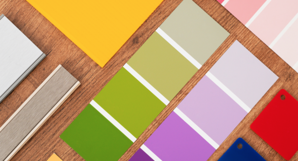 Various small color samples on a paint strip