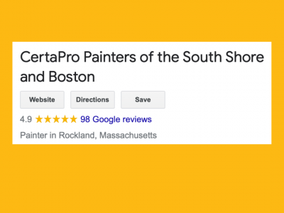 Screenshot of CertaPro Painters of the South Shore's Google review page showing 98 Google Online reviews with an average rating of 4.9 out of 5 stars
