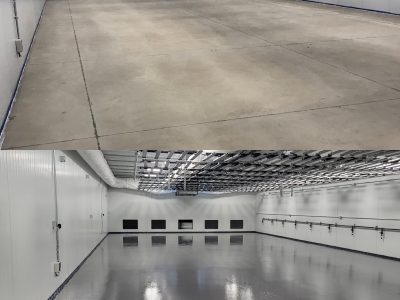 Floor coating installation before and after