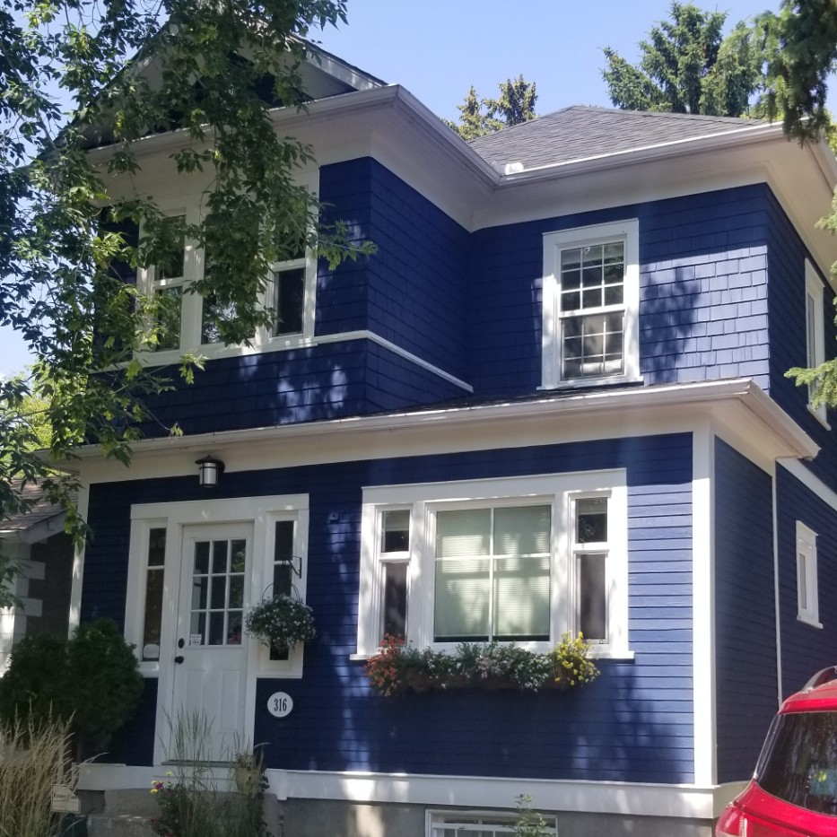 home exterior after color change to blue