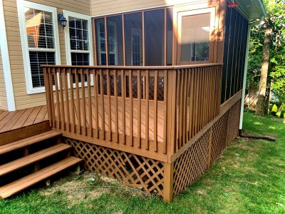 Deck Staining and Porch Screen Replacement in Ooltewah, TN