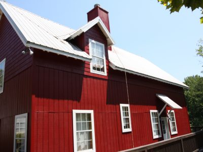 red painted house