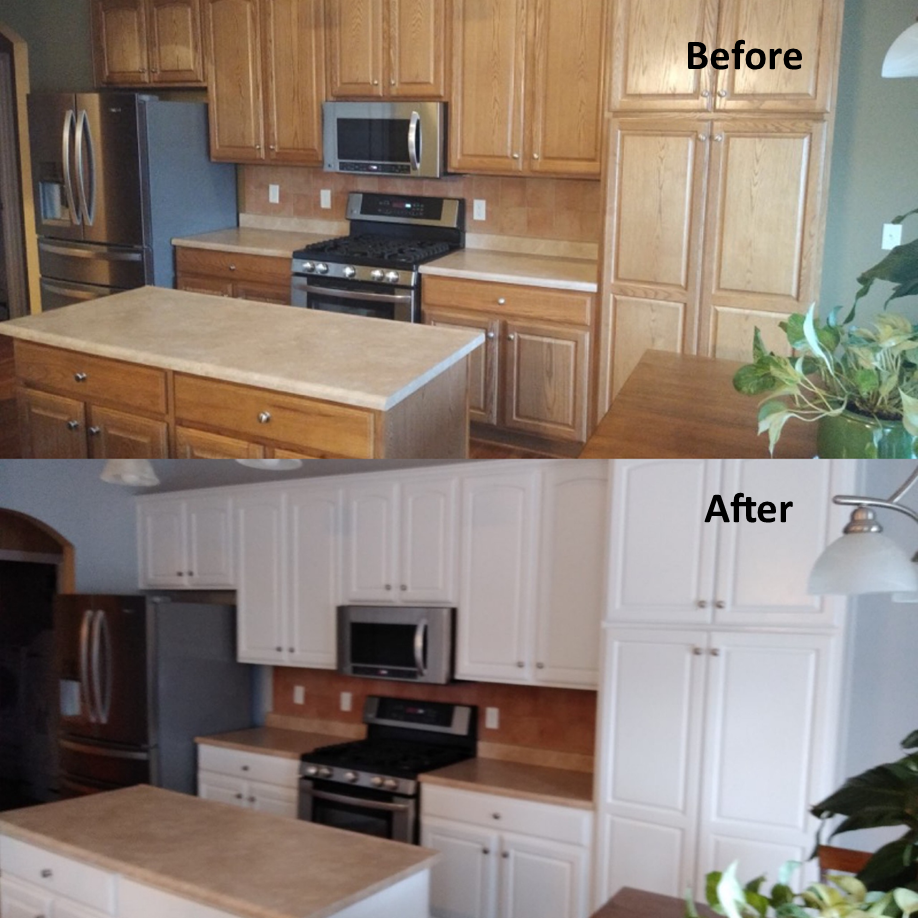 Cabinets before and after painting