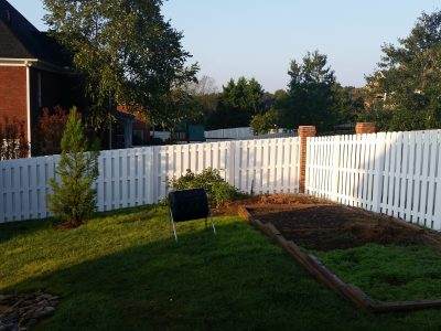 White painted fence