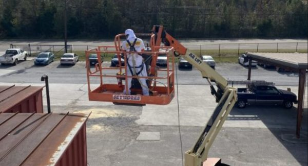 painters working on lift