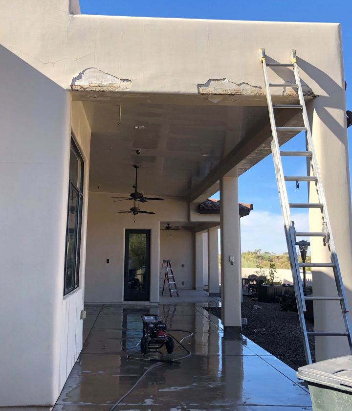 Cracked and Peeling Stucco Repair Before Photo
