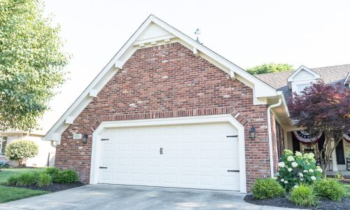 Painted garage door and soffits