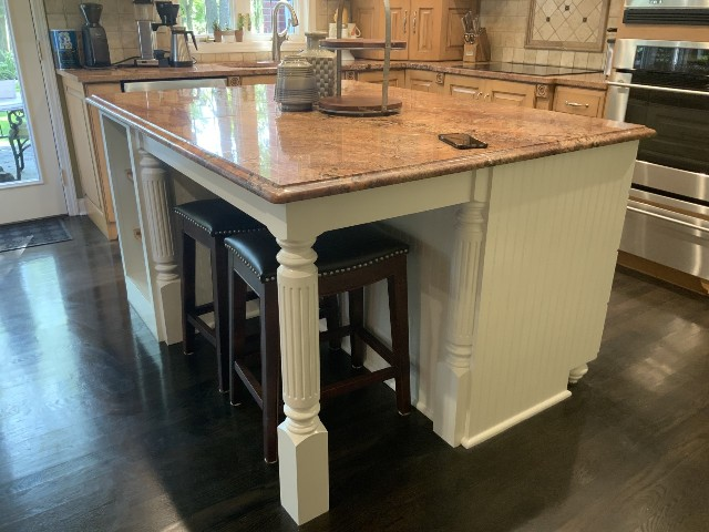 photo of repainted kitchen island