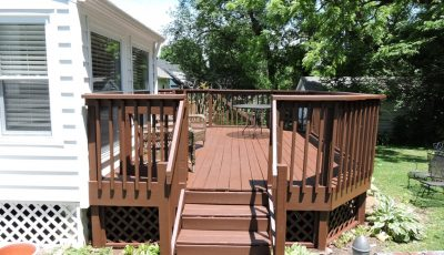 backyard deck that was repainted in st matthews 40206