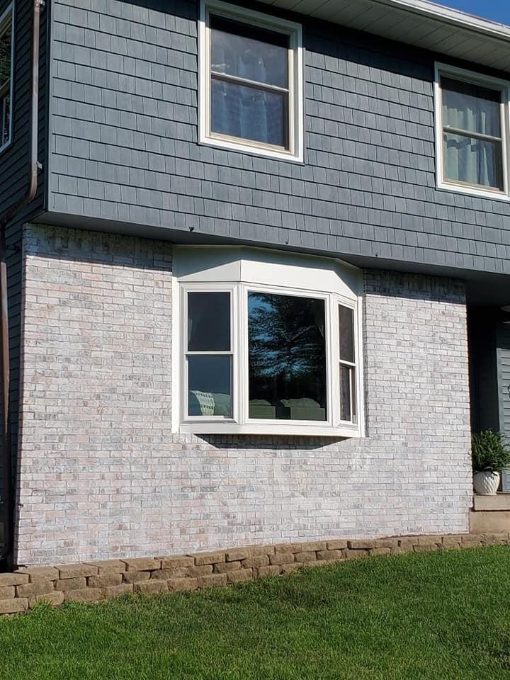 white washed brick exterior