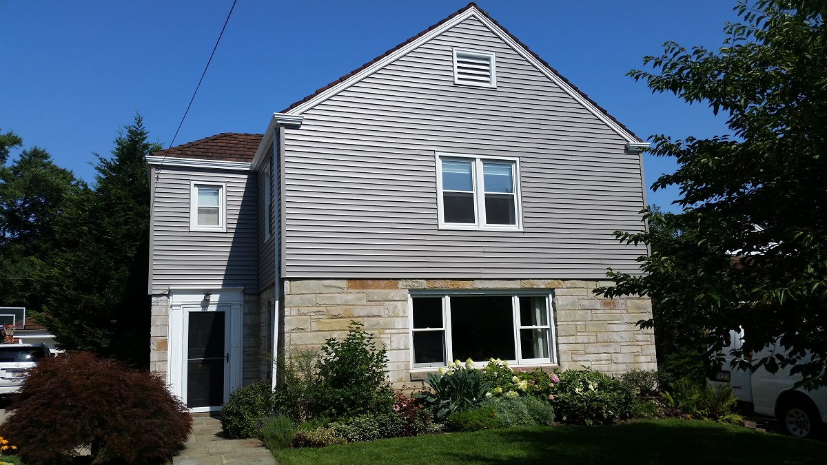 Wood siding with gables after painting