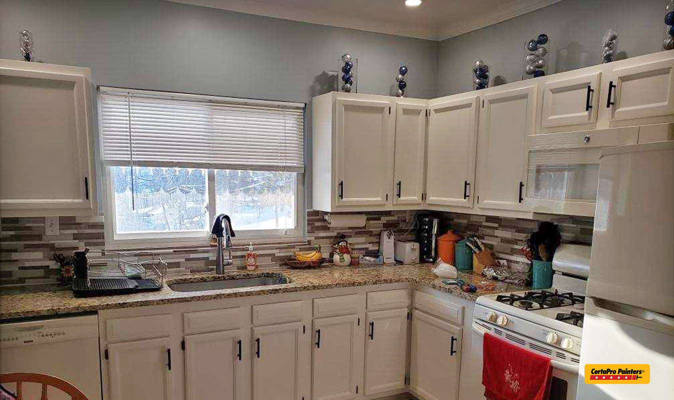 Kitchen cabinets after painting by CertaPro Pittsburgh South