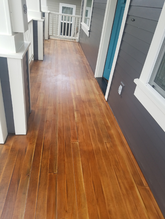residential porch wood floor staining