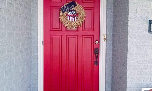 Cherry Red Front Door - Home Exterior Painting