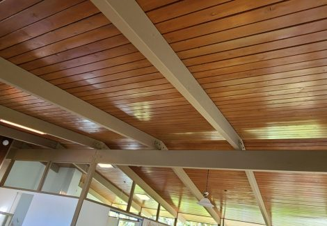 Bel Air home with natural wood ceiling stained.