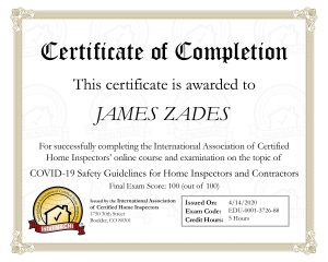 Jim Zades - COVID Safety Certificate of Completion