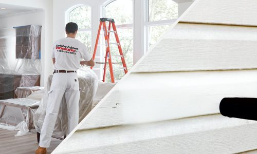 Interior and exterior house painting setup