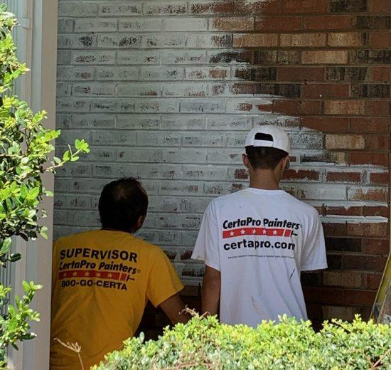 CertaPro Painters of Winston-Salem Crew Lime-Washing Bricks
