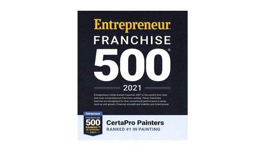 entreprenur franchise 500 award #1 in painting